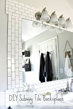 This is my experience installing a DIY subway tile backsplash with lots of before and after pictures of the progression of our master bath.