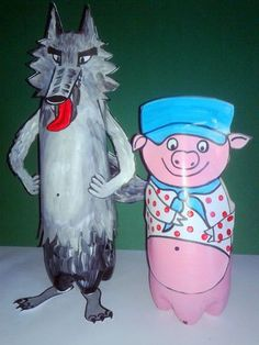96_Personnages Animaux monstres_Le grand méchant loup (82) avec des bouteilles Famous Fairies, Farm Unit, Big Bad Wolf, Three Little Pigs, Sea World, Nursery Rhymes, Oeuvre D'art, Preschool Crafts, Fairy Tales