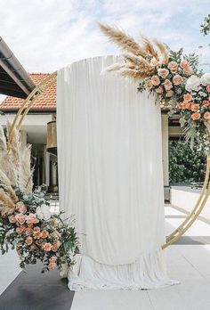 wedding ceremony floral moon gates boho gate with tulle bucketfullof_roses #wedding ceremonies #wedding party #weddingideas #deerpearlflowers #weddinginspiration #weddingbackdrops