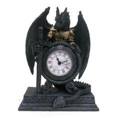 Drache in Rüstung Uhr TISCHUHR 20cm Dragon GOTHIC Kaminuhr MYSTIK Deko Standuhr