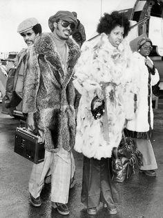 Stevie Wonder in a long fur coat