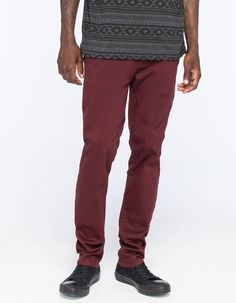 $39, Burgundy Chinos: Rsq London Skinny Chino Pants. Sold by Tilly's. Click for more info: https://lookastic.com/men/shop_items/296718/redirect