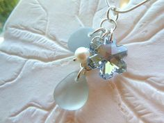 Gray Sea Glass Necklace Snowflake Beach by TheMysticMermaid