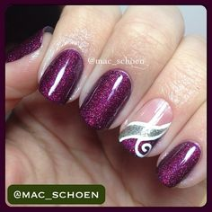Purple and silver with swirl #trythisnail