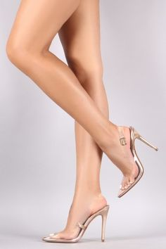 Liliana Lucite Pointy Toe Slingback Patent Pump