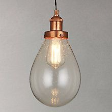 Buy John Lewis Radley Glass Bistro Pendant Ceiling Light, Clear/Copper Online at johnlewis.com