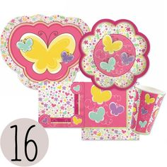 Birthday Party Playful Butterfly and Flowers Bundle for 16 - Plates, Cups, Napkins - List price: $39.99 Price: $34.99