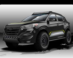 From a rendering to reality Rockstar Performance Garage transformed a 2016 Hyundai Tucson 1.6L turbo for the 2015 Hyundai Motor America SEMA show booth, number 24387