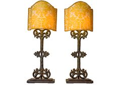 Antique Iron Fragment Lamps with Fortuny Fabric Shades, Pair
