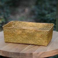 El desorden del escritorio de mimbre Artesanía de paja tejida A Mano verde mar cosméticos bin cesta cesta caja de recibir