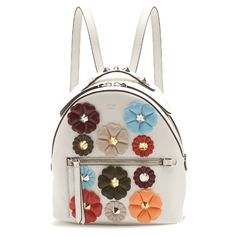 Fendi Flowerland mini leather backpack (10.375 RON) ❤ liked on Polyvore featuring bags, backpacks, white multi, leather knapsack, leather daypack, mini bag, white leather backpack and white backpack