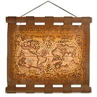 Leather world map