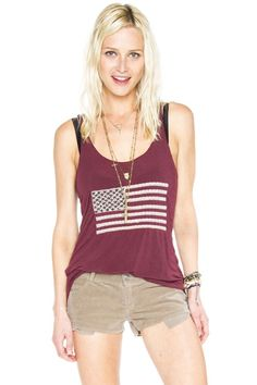 Joanna embroidered flag tank