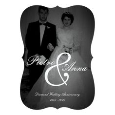 Diamond Anniversary with Vintage Me 60th Anniversary Parties, 60 Wedding Anniversary, Wedding Anniversary Invitations, Diamond Anniversary, Anniversary Ideas, Black And White Wedding Invitations, Simple Wedding Invitations, Wedding Invitation Design, Invitation Paper