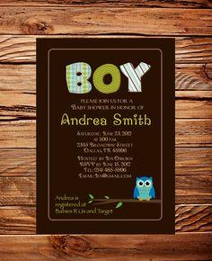 Owl Baby Boy Shower Invitation, Invitation, Owl Baby Shower, BOY, Brown, Green, Digital Baby Shower Invite, Printable. $18.00, via Etsy.