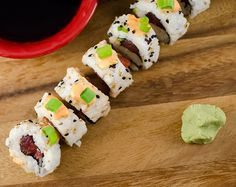 Make spicy tuna rolls at home for half the price of going out. Top the spicy tuna rolls with some spicy mayo and they are oh so good. Sushi Recipes, Cooking Recipes, Spicy Tuna Roll, Sushi Chef, Homemade Pickles, Sushi Rolls, Rolls Recipe, Food And Drink, Yummy Food