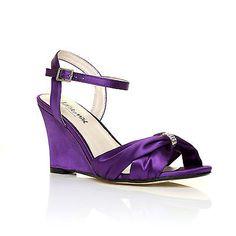 Angel Purple Satin Wedge High Heel Stry Bridal Shoes