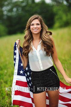 American Flag Senior Session Ideas for girls