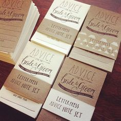recycled card 20 letterpressed, Advice for the Bride and Groom, note cards, note set, happy ever after