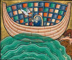Demonagerie : The Ark Medieval Manuscript, Medieval Art, Illuminated Letters, Illuminated Manuscript, Noah Flood, Noahs Arc, Religious Paintings, Under The Moon, Biblical Art
