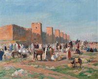 Scène de marché devant les remparts de Marrakech by Gaston Jules Louis Durel