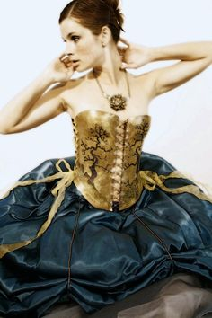 Brass corset with trees.