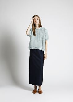 knitwear with long skirt Modest Outfits, Casual Dresses, Neutral, Ootd, T Shirt And Jeans, I Love Fashion, Fashion 2014, Fashion Outfits, Womens Fashion