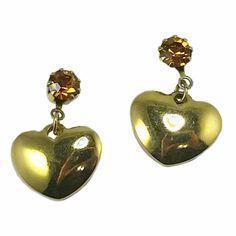 Birthstone Heart Earrings Vintage Avon Gold Tone November Orange Pierced e718 #Avon #Huggie