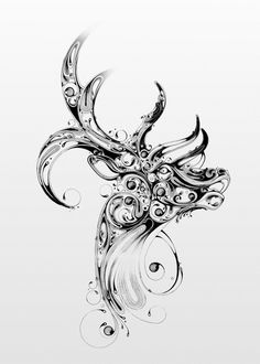 This series by UK-based artist Si Scott, entitled Resonate, features black ink illustrations inspired by British wildlife and old anatomical drawings. Si Scott, Stag Tattoo, Tatoo Art, Fawn Tattoo, Seahorse Tattoo, Foto Fantasy, Blog Art, Insect Art, Doodles Zentangles
