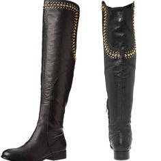 Betsey Johnson over the knee boot Gold studs, worn max 5 times, in great condition Betsey Johnson Shoes Over the Knee Boots