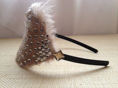 Cream Colored Feather Headband with Crystals by QueliMade on Etsy, $25.00