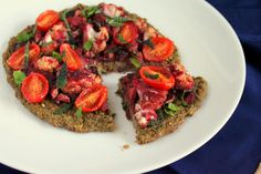 Vegan Chopped: Black-eyed Pea Pizza crust, Tomato chutney w/ Cauliflower, and Spinach