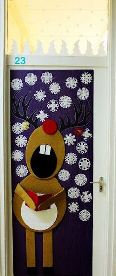 Rudolph the Red Nose Reindeer Christmas Door Decoration Ideas