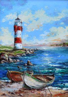 Zdjęcie użytkownika ARTE. Watercolor Landscape, Landscape Art, Landscape Paintings, Watercolor Paintings, Lighthouse Painting, Boat Painting, Lighthouse Pictures, Boat Art, Seascape Paintings