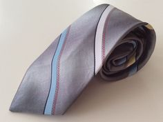 Surrey Neck Tie Gray Blue Yellow White Stripe #Surrey #NeckTie