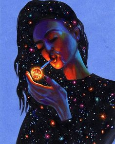 Exclusive print on canvas embellished print surreal art print painting on canvas modern art girl in space art cosmic painting Art Inspo, Kunst Inspo, Art Pop, Art And Illustration, Psychedelic Art, Dope Kunst, Art Afro, Stoner Art, Fantasy Kunst