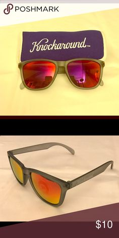 KNOCKAROUND Frosted Grey/Red Sunset Sunglasses These lightweight Knockaround Premiums Sunglasses are unisex and offer UV400 protection. They have FDA approved impact resistant lenses with laser etch logo detail on the Frosted Grey frames w/a matte finish, and reflective lenses in Red Sunset. Comes w/a custom print microfiber protective pouch. Never worn. Knockaround Accessories Sunglasses