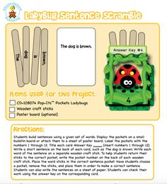"""Encourage children to grasp the rules of sentence structure, reading and vocabulary while they get ready for spring with this interactive """"Ladybug Sentence Scrabble"""" game featuring our Ladybug Pop-Its Pockets! Wooden Craft Sticks, Craft Stick Crafts, Sentence Structure, Spring Fever, Spring Is Here, Scrabble, Spring Cleaning, Language Arts, Sentences"""