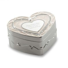 Engraved Regal Elegance Heart Keepsake Box with Crystals , Add Your Personalized Message