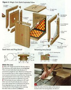 #2131 Wooden Coin Bank Plans - Woodworking Plans