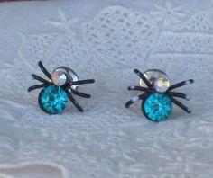 Vintage Spider Pierced Earrings Aqua Teal Clear by VintagebyKanina, $20.00