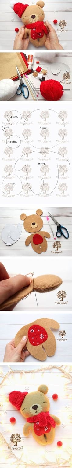 How to make felted toy bear. Cute Crafts, Felt Crafts, Fabric Crafts, Sewing Crafts, Diy And Crafts, Sewing Projects, Arts And Crafts, Felt Patterns, Stuffed Toys Patterns