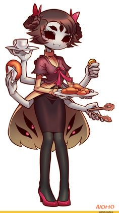 Muffet a friend of mine she can get really angry when you fight her......oh shoot muffet I didn't steal anything!!!