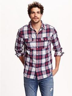 Regular-Fit Plaid Flannel Shirt | Old Navy