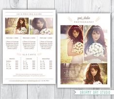 photography pricing template / wedding photographer pricing template / photographer price list / templates for photographers / photography