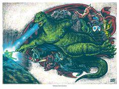 Godzilla Michelangelo mashup-artwork