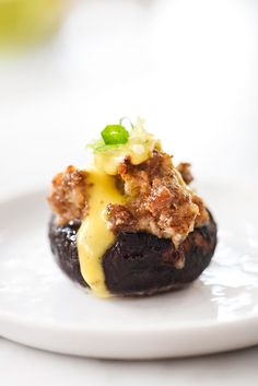 Sausage Stuffed Mushrooms with Hollandaise | foodiecrush.com