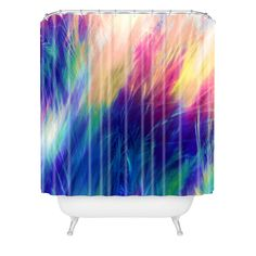 Caleb Troy Paint Feathers In The Sky Shower Curtain | DENY Designs Home Accessories 50% OFF Black Friday Sale with Coupon Code BLACKFRI50 #denydesigns #showercurtain #bathroom #blackfriday #sale #gift #blue #feathers