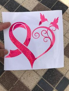 Breast Cancer Heart Ribbon window vinyl decal sticker #Vinyldecalsideas