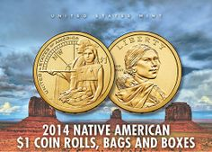 2014 Native American $1 Coin Rolls, Bags and Boxes United States Mint, Gold And Silver Coins, Coin Collecting, Panama, Nativity, Native American, Stamps, Rolls, The Unit